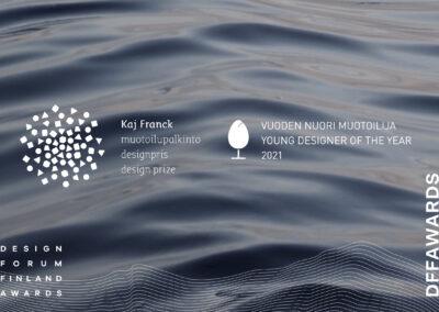Design Forum Finland Awards 2021: Kaj Franck ‑muotoilupalkinto ja Vuoden nuori muotoilija. Palkintonäyttelyt.